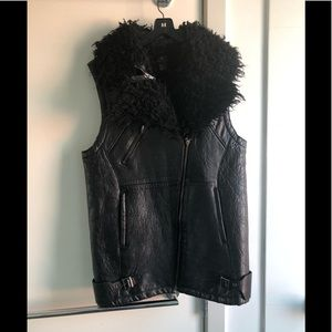 Black leather and shearling oversized winter vest